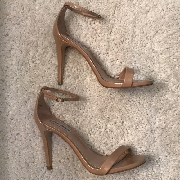 3a03b4f1561 Steve Madden Stecy Nude Ankle Strap Sandals Heels